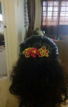 Pink & green hairclip